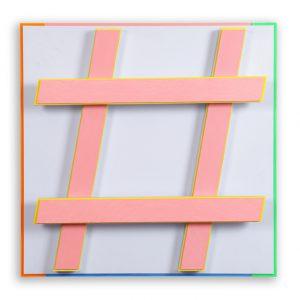 Hashtag #4 bleu Acryl auf Aludibond und Alu-4-Kantrohren 51,4 x 51,4 x 11,9 cm 2014