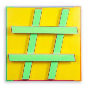 Hashtag #3 gelb Acryl auf Aludibond und Alu-4-Kantrohren 51,4 x 51,4 x 11,9 cm 2014