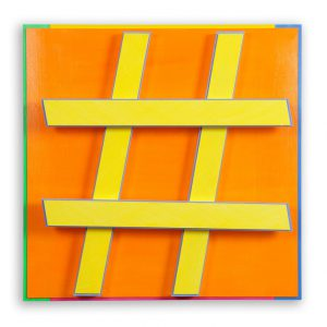Hashtag #2 orange Acryl auf Aludibond und Alu-4-Kantrohren 51,4 x 51,4 x 11,9 cm 2014