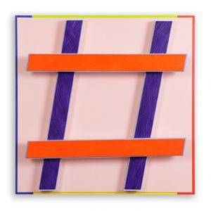 Hashtag # 1 rosa Acryl auf Aluminium und Alu-4-Kantrohren 51,2 x 51,2 x 11,4 cm 2014