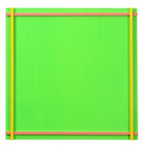 Piet (hellgrün) Acryl auf Aludibond und Alu-4-Kantrohre 50 x 50 x 7,3 cm